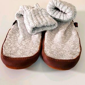 NWOT, slipper socks, gray, brown leather soles.